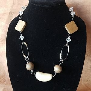 Silver and wood with crystal necklace